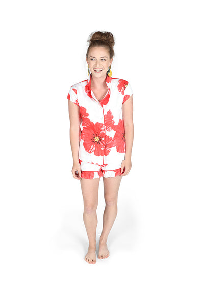 Poppies on Parade Sateen Ruffled Summer PJ Set