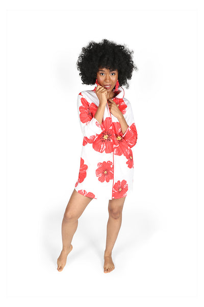 Poppies on Parade Sateen Sleep Shirt