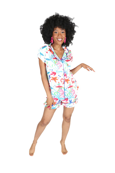 Colorful Monkey Sateen Ruffled Summer PJ Set