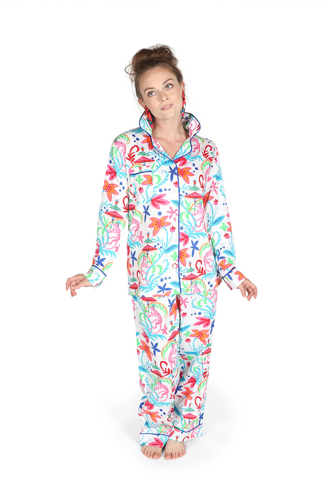 Colorful Monkey Sateen Full Pajama Set
