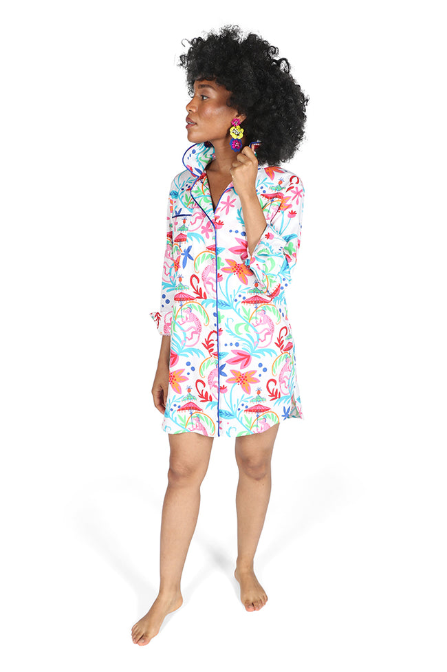 Colorful Monkey Sateen Sleep Shirt