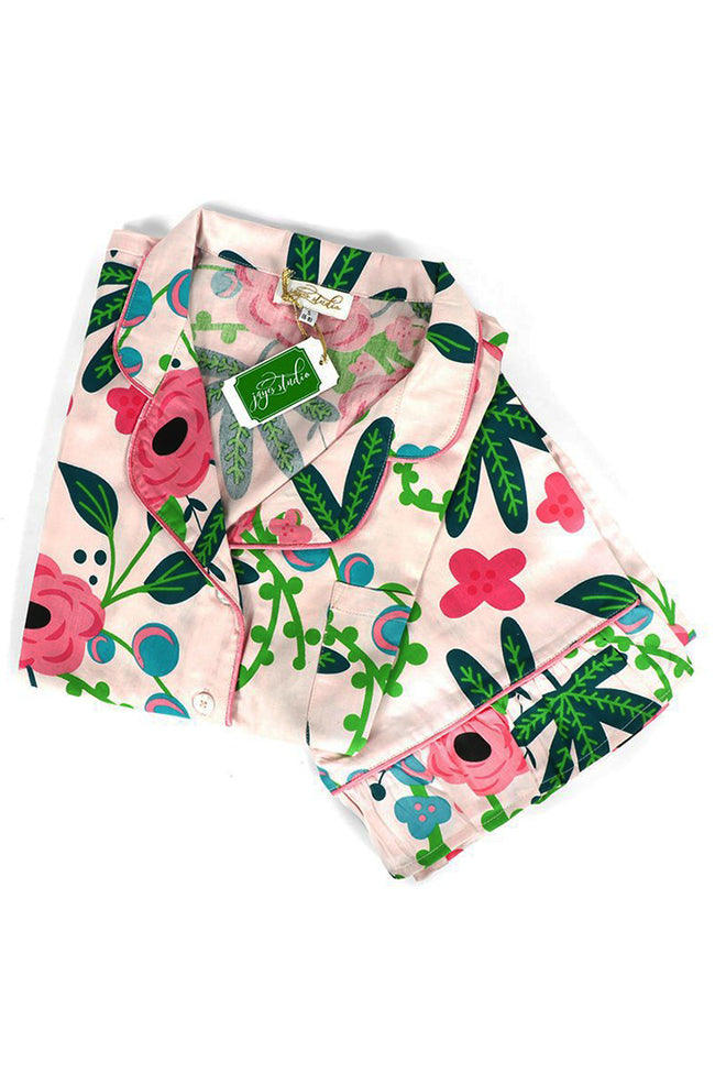 Botanica Blush Sateen Capri Pajama Set
