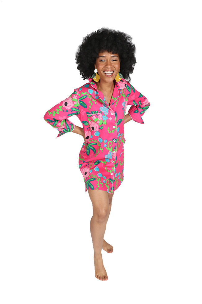 Botanica Pink Sateen Sleep Shirt