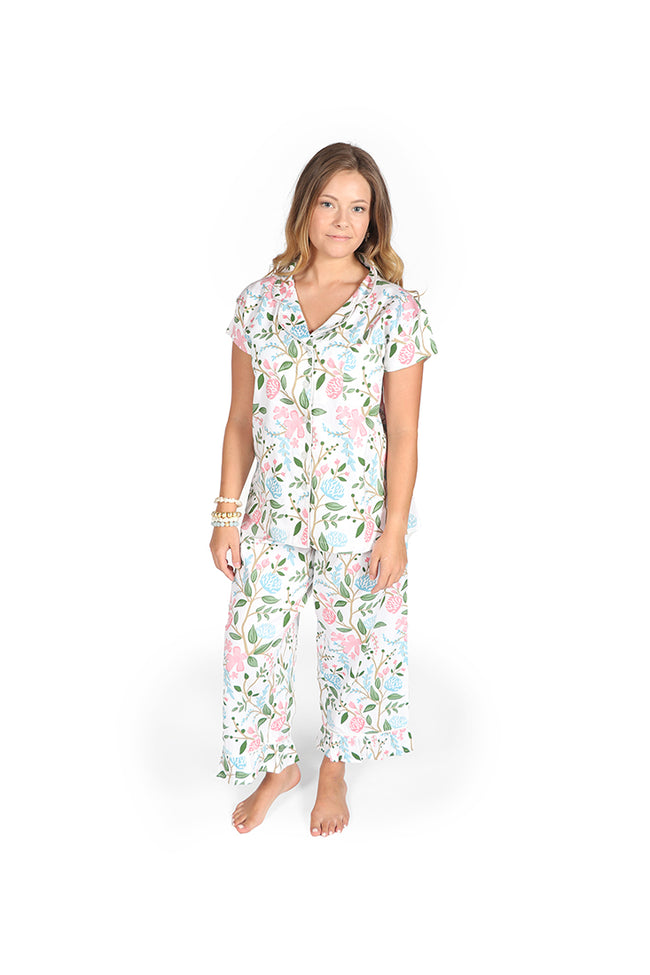 Hydrangea Meadow Sateen Capri Pajama Set
