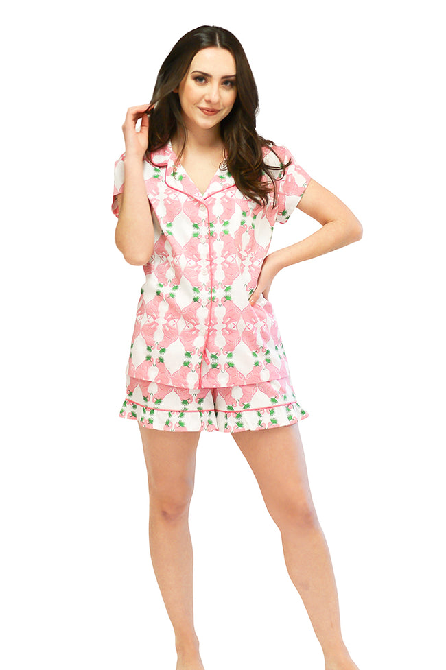 Elephants at Play Sateen Ruffled Summer PJ Set