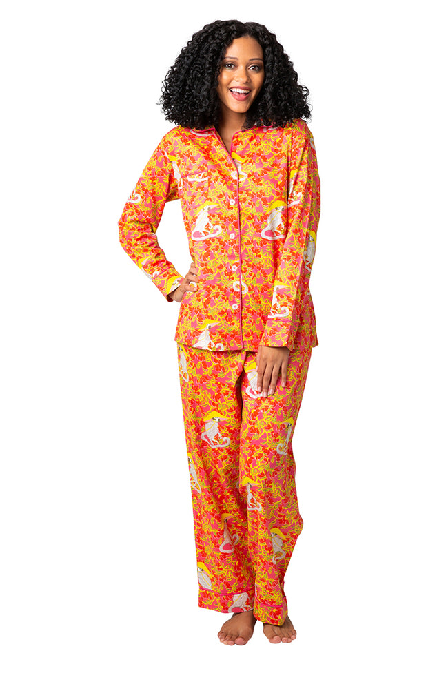 Mandarin Monkey Sateen Full Pajama Set