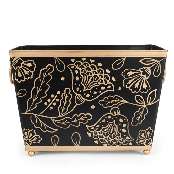 Floral Silhouette Black Magazine Holder
