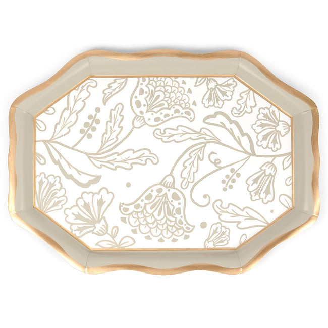 Floral Silhouette Tea Tray