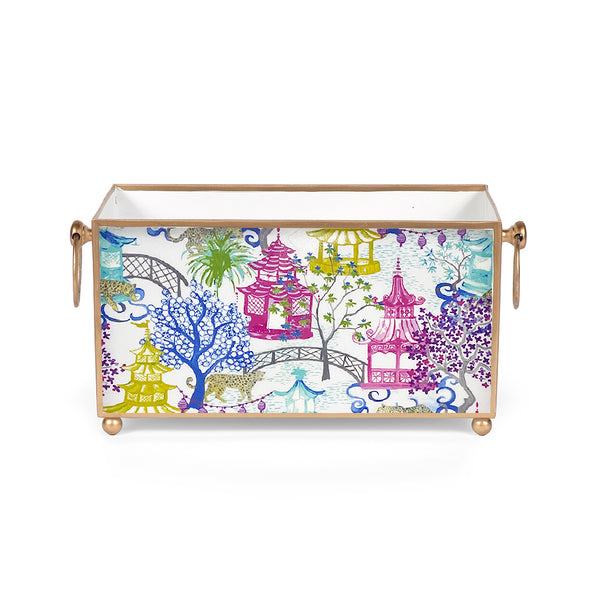 Garden Party Enameled Rectangular Cachepot