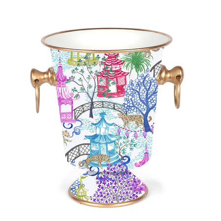 Garden Party Enameled Wastebasket