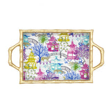 Garden Party Multi Enameled Chang Mai Tray 10x14