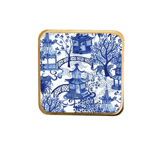 Garden Party Blue Enamel Cork Coasters (4pk)