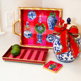 Buffalo Ginger Jars Enameled Chang Mai Tray 12 x 12