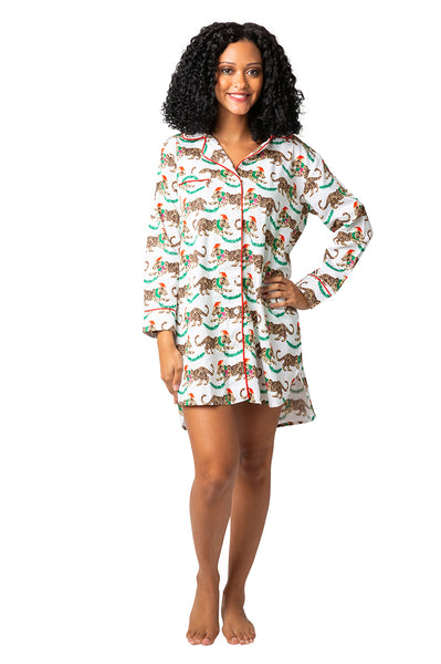 Leopard Sateen Sleep Shirt