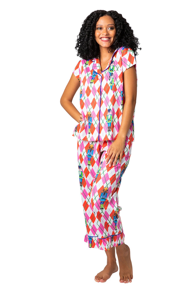 Preppy Nutcracker Sateen Capri Pajama Set