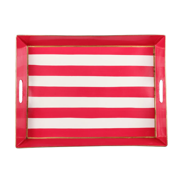 Horizontal Stripe Red Rectangular Tray
