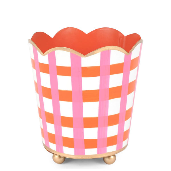 "Gingham Pink Orange 4"" Decorative Cachepot"