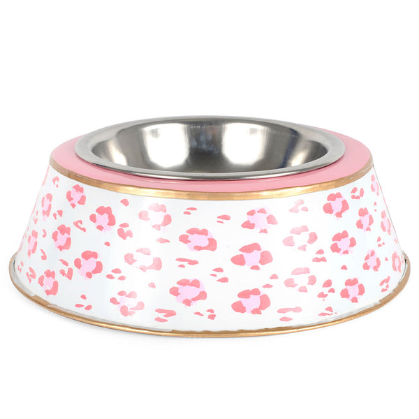 Leopard Pink Dog Bowl