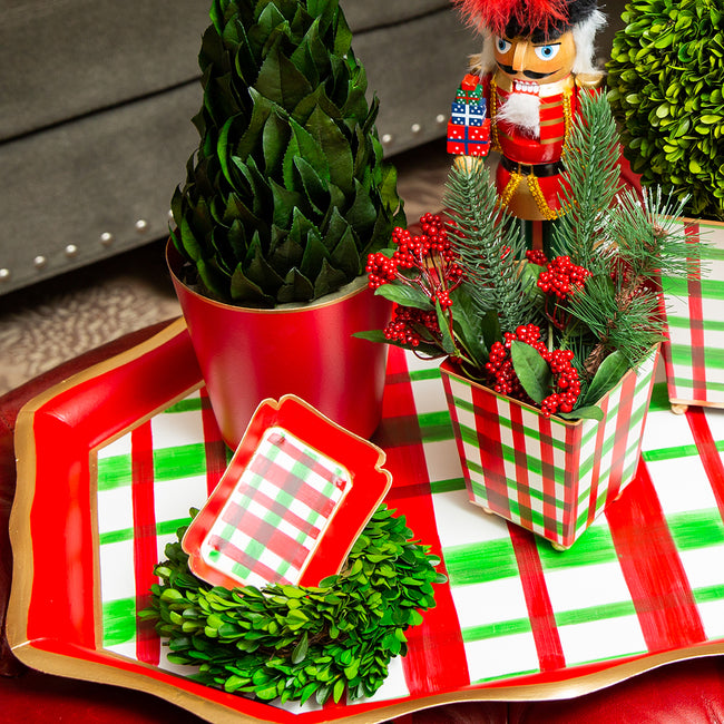 Holiday Plaid Trinket Tray