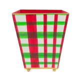 Holiday Plaid Square Cachepot