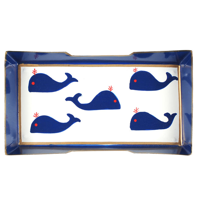 Whales Blue Guest Towel Tray