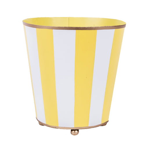 Vertical Yellow Stripe Round Cachepot