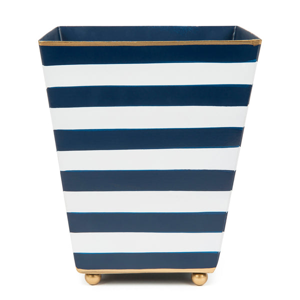 Horizontal Stripe Blue Square Cachepot