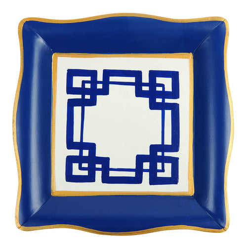 Interlocking Key White Blue Social Tray