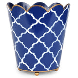 Madeline Navy Scallop Top Wastebasket