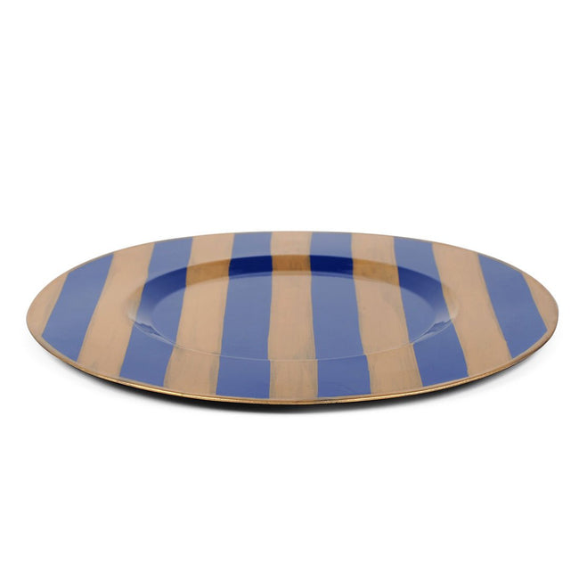 "Brushed Stripe Navy 14"" Charger Plate 4-Pack"