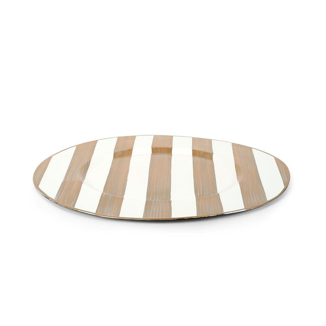 "Brushed Stripe Cream 11"" Charger Plate 4-Pack"