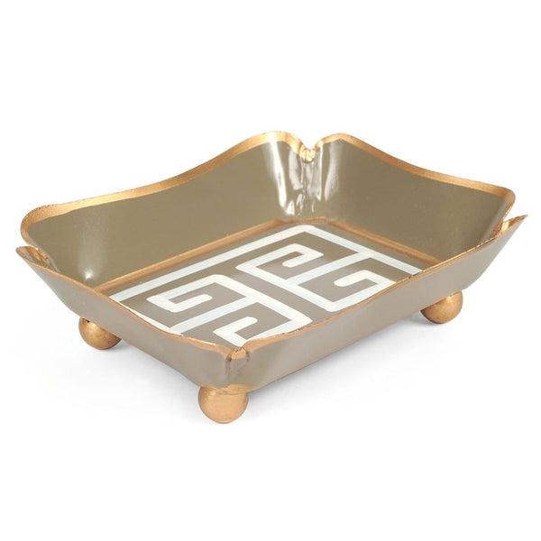Greek Key Grey Trinket Tray