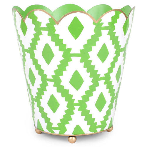 Aztec Green Scallop Top Wastebasket