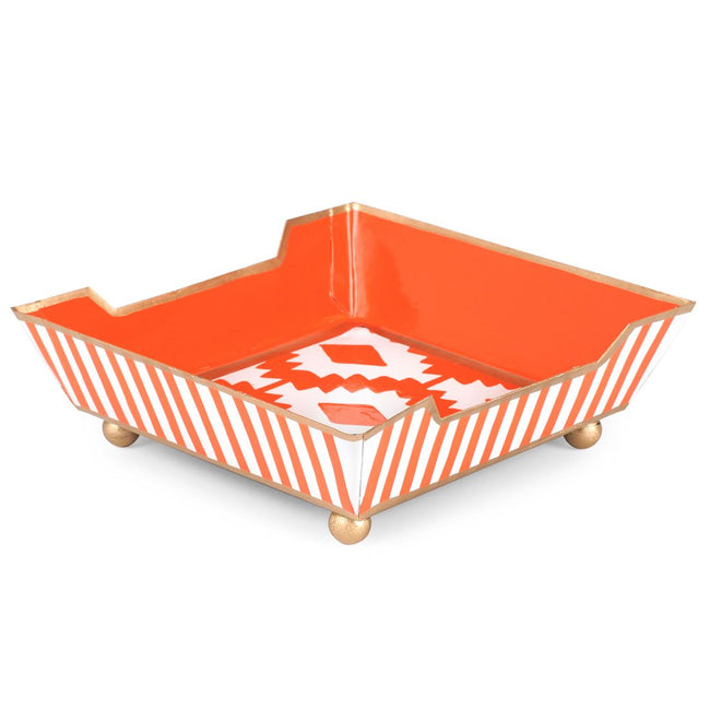 Aztec Orange Cocktail Napkin Tray