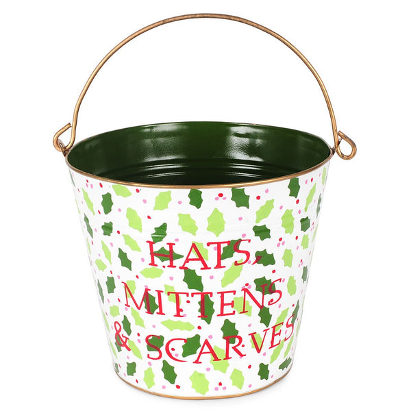 "Hollies And Berries Multi Color ""HATS,MITTENS & SCARVES"" Pail"