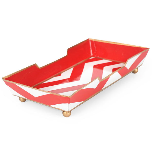 Chevron Red Guest Towel Tray