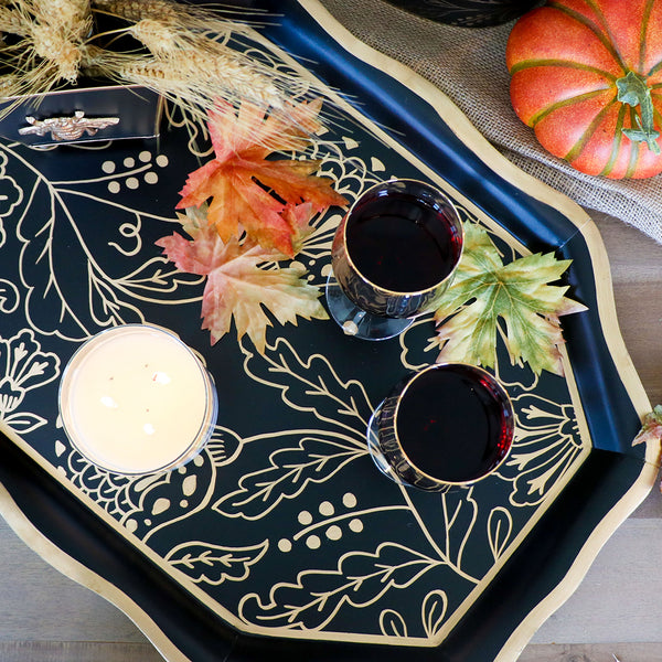 Floral Silhouette Black Tea Tray
