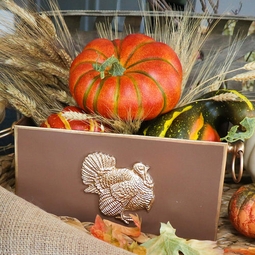 Color Block Turkey Rectangular Cachepot 6x12