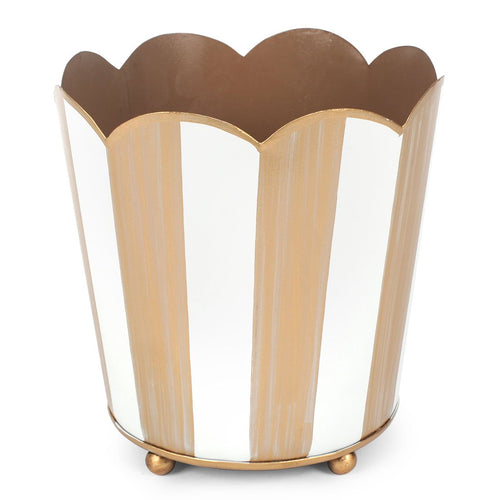 Brushed Stripe Cream And Gold Decorative Cachepot