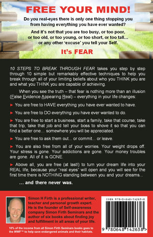 A picture of the back cover of a book by Simon H Firth called '10 Steps to Break Through Fear' showing an image of an imaginary wall which represents the fear of going after our goals.
