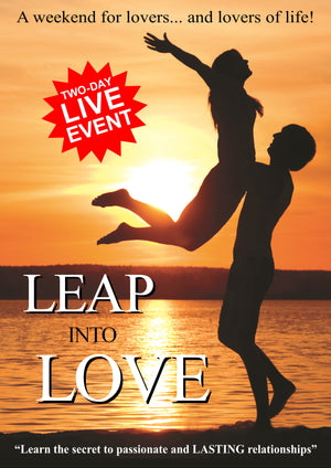 A picture of the front cover of a brochure advertising a two-day relationships workshop by Simon H Firth called 'Leap Into Love' which teaches singles and couples how to create passionate, loving and LASTING relationships.