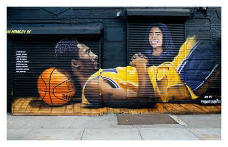 "Kobe & Gigi Bryant Brooklyn Mural Art Print (Small) 17""x11"""