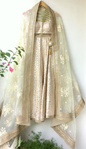 Off white chaderi stone work halter choli, Offwhite chanderi lehenga and Offwhite embroidered organza dupatta