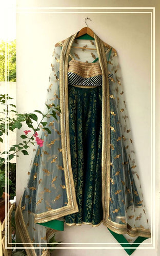 Teal blue gota stone work choli, Silk organza lehenga and Light teal embroidered tulle dupatta