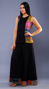 VINTAGE KANTHA PLEATED TOP & PATCH PALAZZO EMSEMBLE