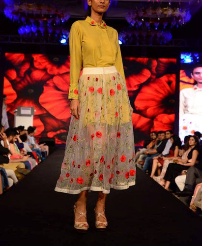 embroidered Organza skirt with cotton silk shirt dress.