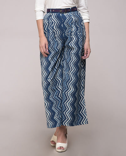 DABU PRINTED COTTON CHEVRON PALAZZO PANT WITH BELT