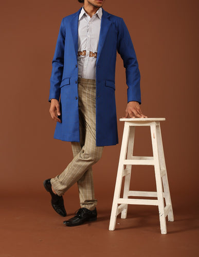 Blue longline blazer with cutout shirt and checkered pants