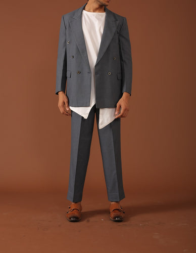 Grey suit with asymmetric white shirt