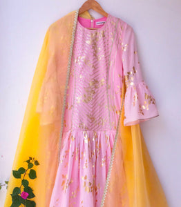 Pink malmal long kalidar and Yellow kota Dupatta